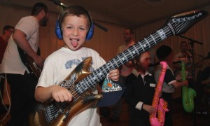 My son Gavi came along for the ride and had a blast jamming for the amazing kids at Camp Simcha. Behind him, from left to right - Ari Boiangiu, Aryeh Kunstler, Me